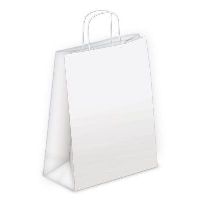 Shopper carta kraft bianco neutro cordino ritorto in carta 18+8x24 cm gr. 100