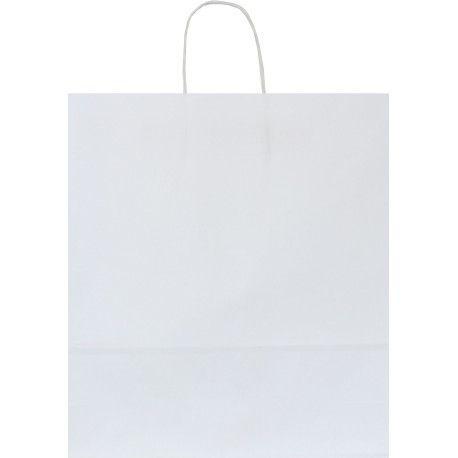 Shopper carta kraft bianco neutro cordino ritorto in carta 22+10x29 cm gr. 100