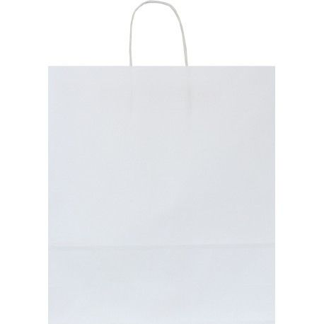 Shopper carta kraft bianco neutro cordino ritorto in carta 27+12x37 cm gr. 100