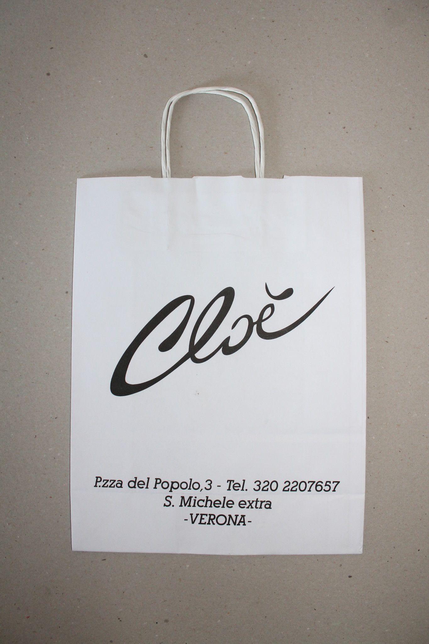 Shopper carta kraft bianco stampato cordino ritorto in carta 36+13x41cm gr. 100