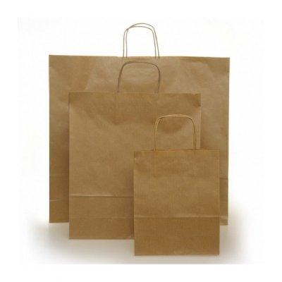 Shopper carta kraft avana riciclato neutro cordino ritorto in carta 18+8x24 cm gr. 100
