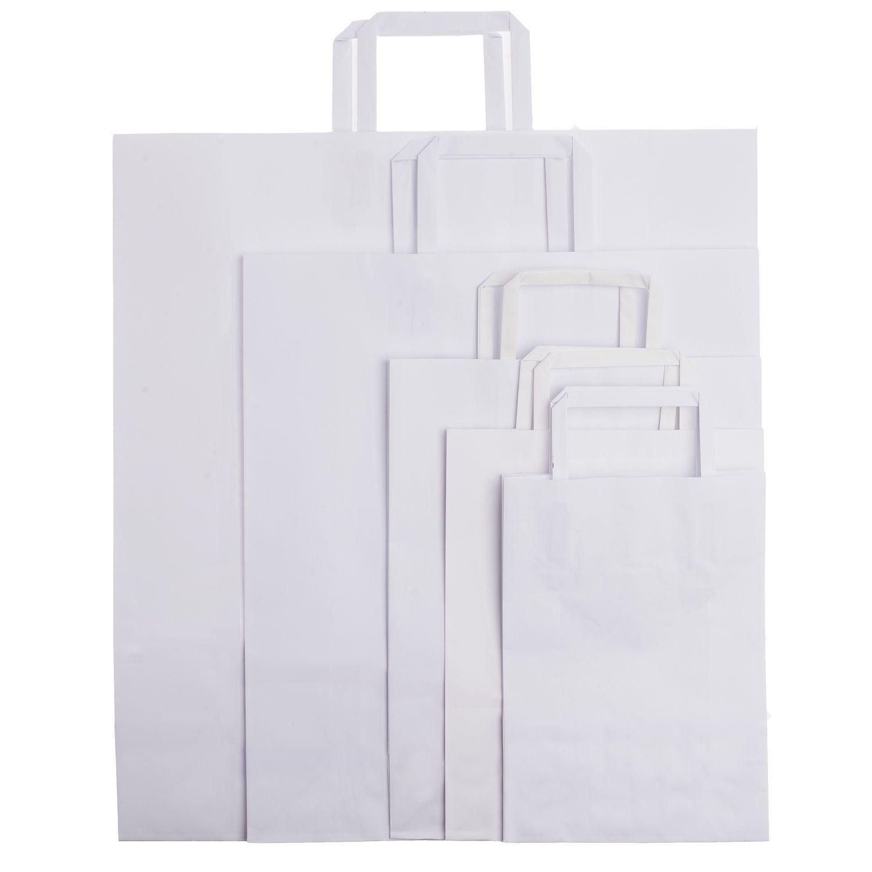Shopper carta kraft bianco stampato manico piattina in carta 22+10x29 cm gr. 80
