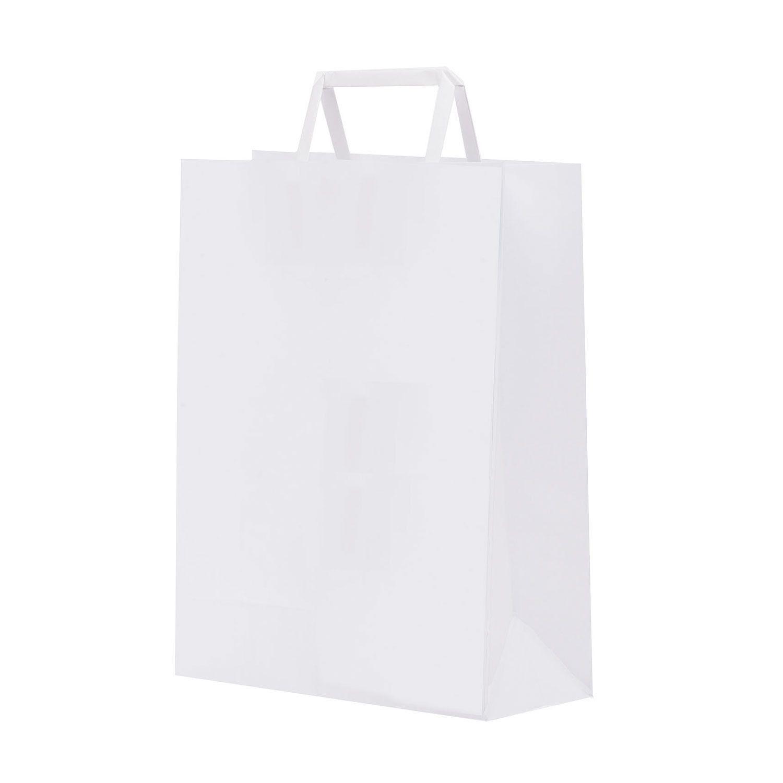 Shopper carta kraft bianco stampato manico piattina in carta 32+13X41 cm gr. 90