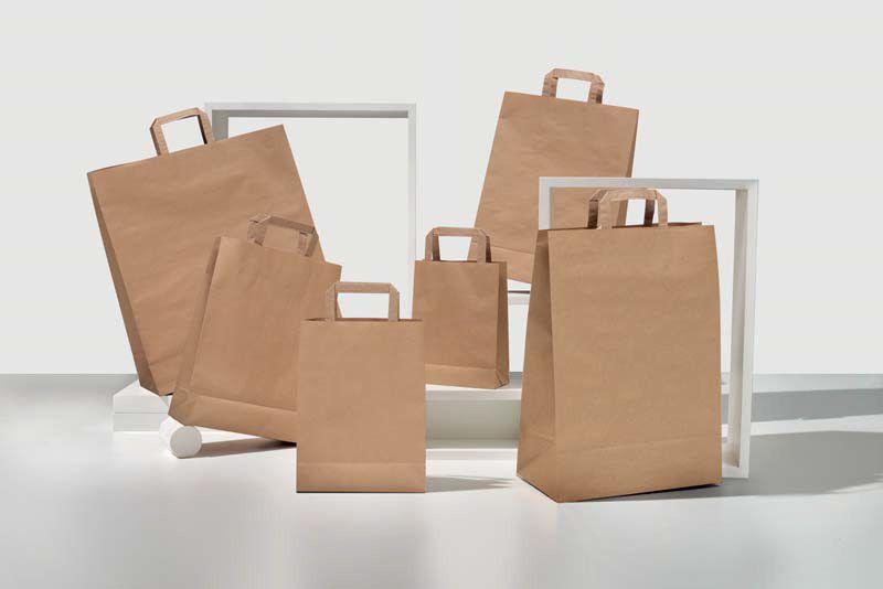 Shopper carta kraft avana riciclato neutro manico piattina in carta 27+12x37 cm gr. 90