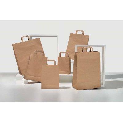 Shopper carta kraft avana riciclato neutro manico piattina in carta 32+13x41 cm gr. 90