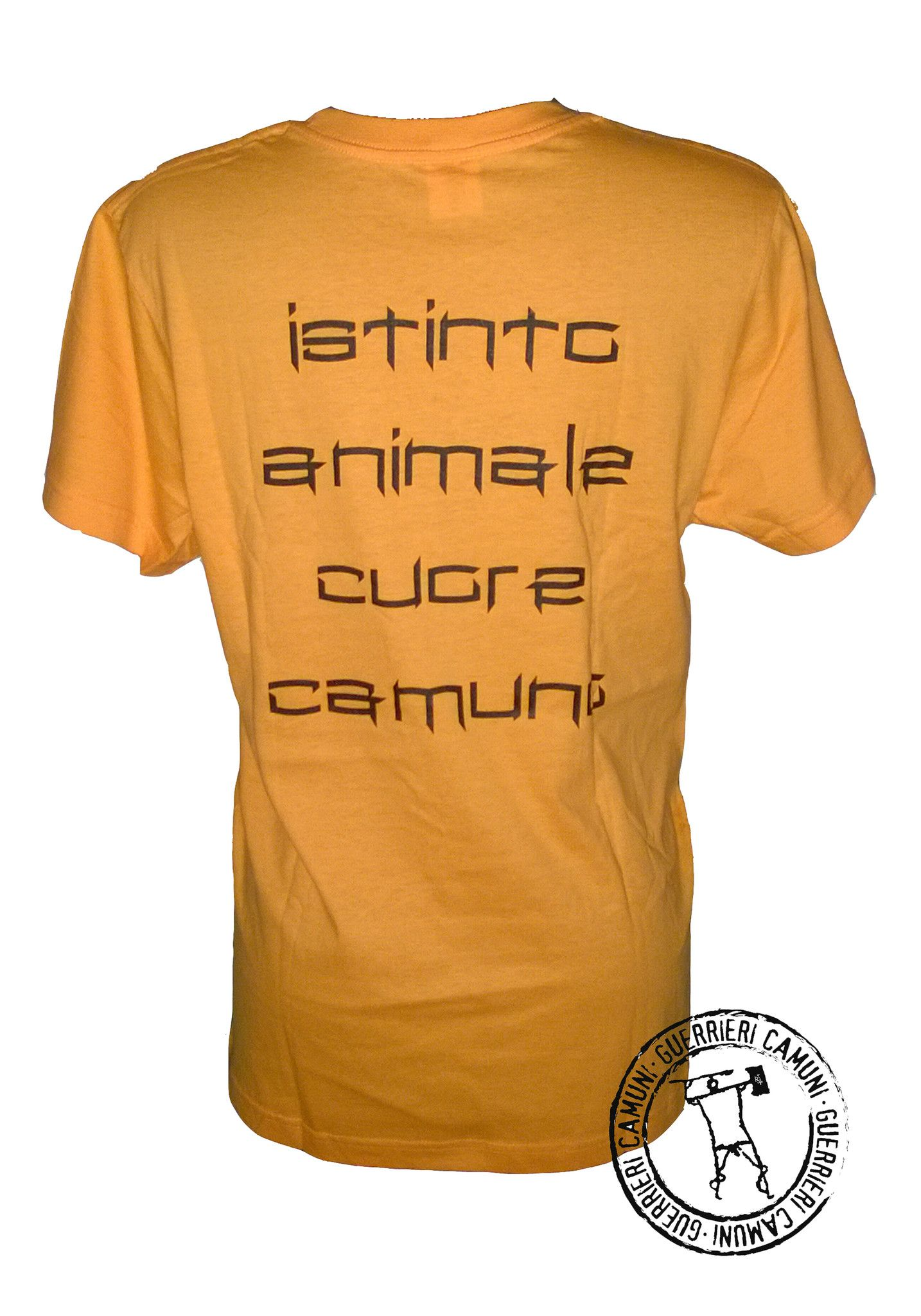 Maglietta T-Shirt Incisioni Rupestri Cervi In Amore Unisex Arancione