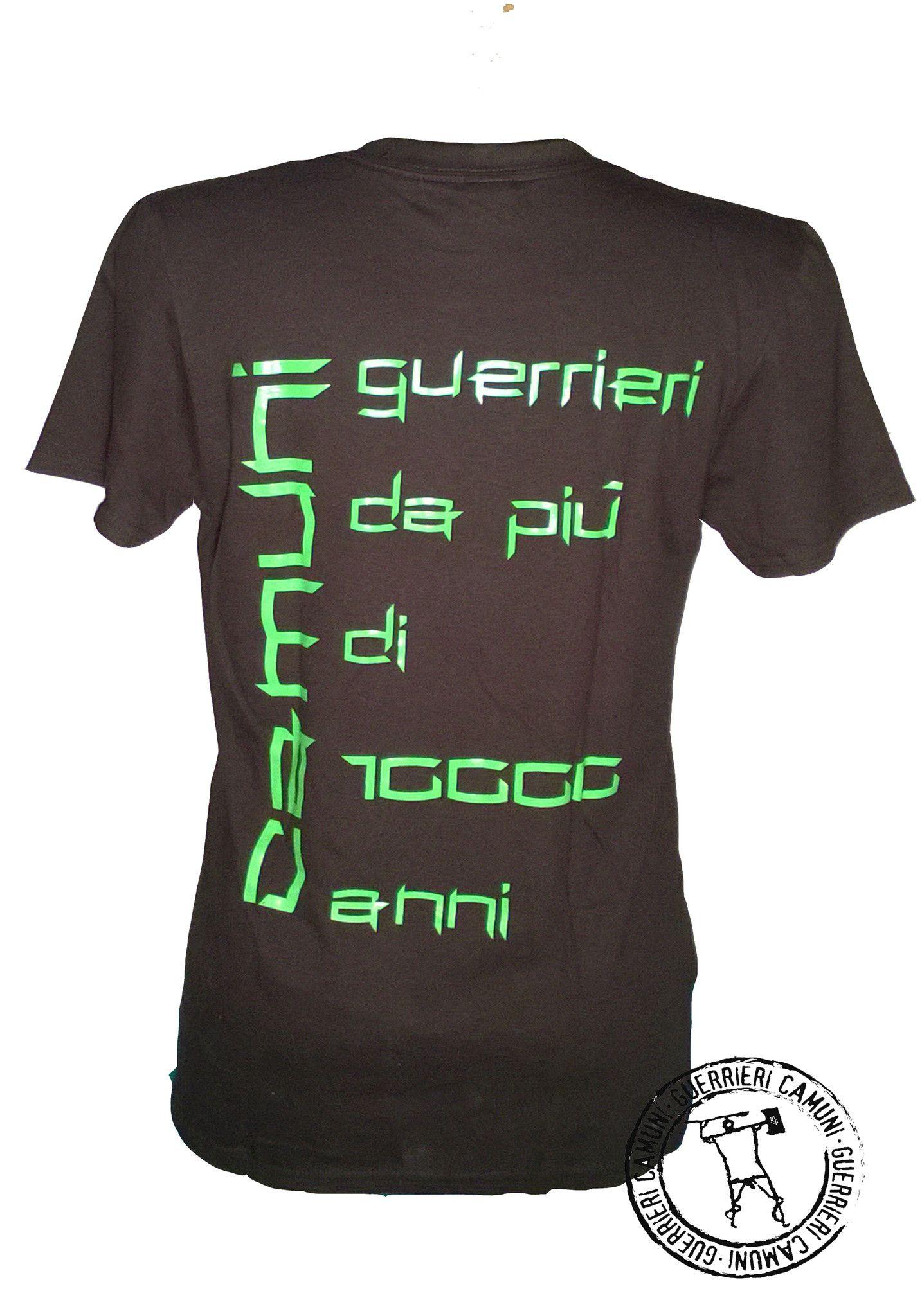 Maglietta T-Shirt Incisioni Rupestri Guerriero Camuno Verde Unisex Nera