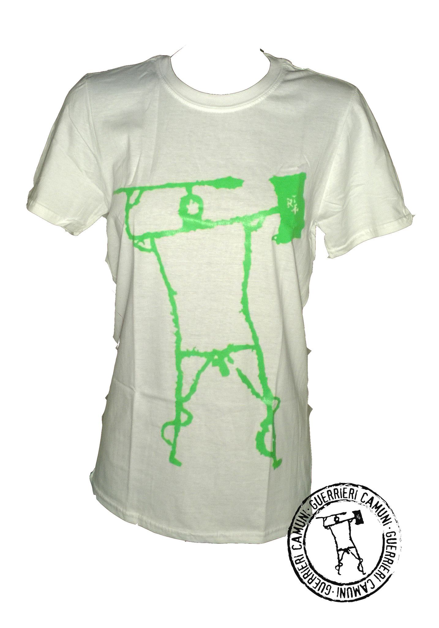 Maglietta T-Shirt Incisioni Rupestri Guerriero Camuno Verde Unisex Bianca