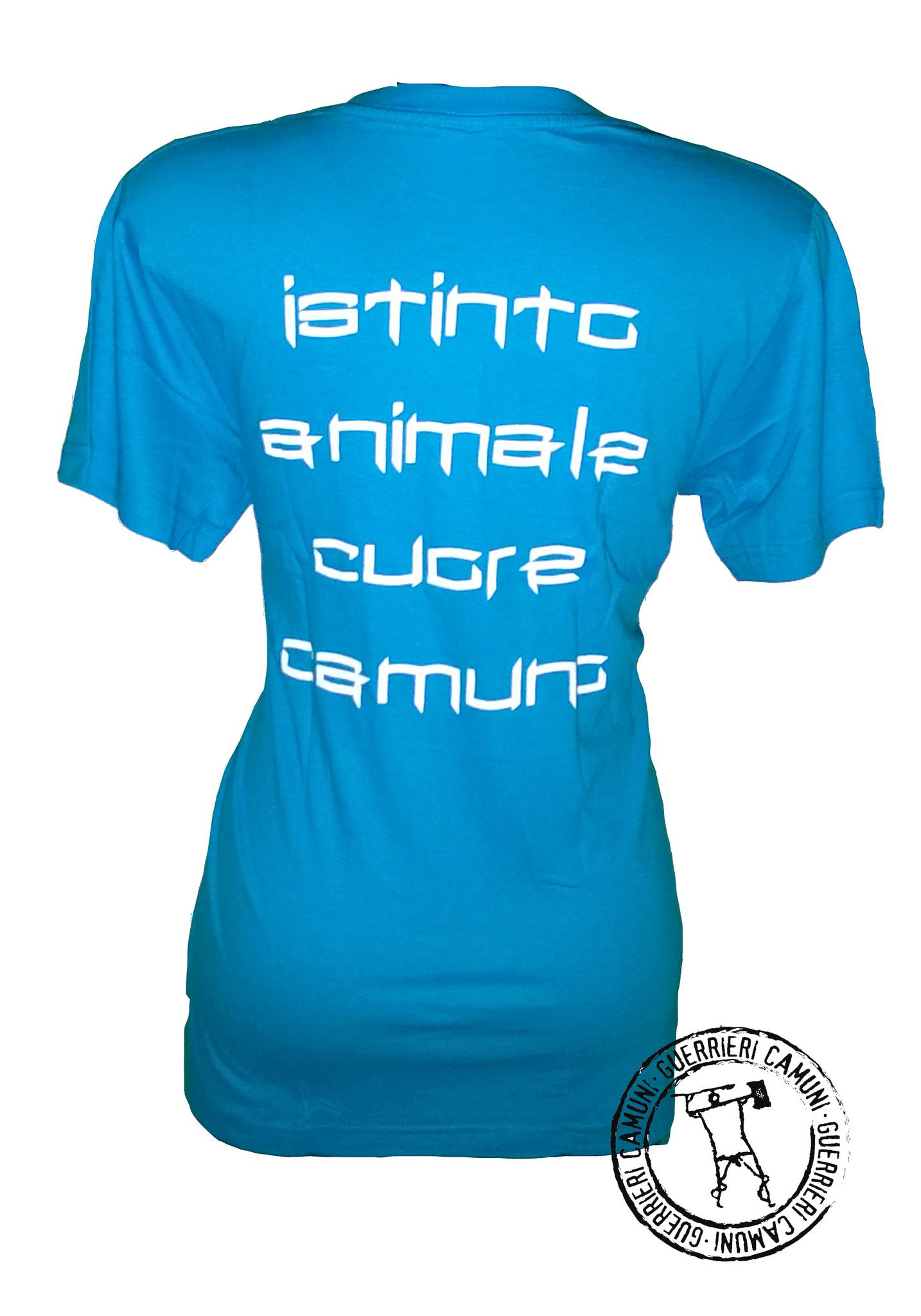 Maglietta T-Shirt Incisioni Rupestri Cervi in Amore Unisex Azzurra