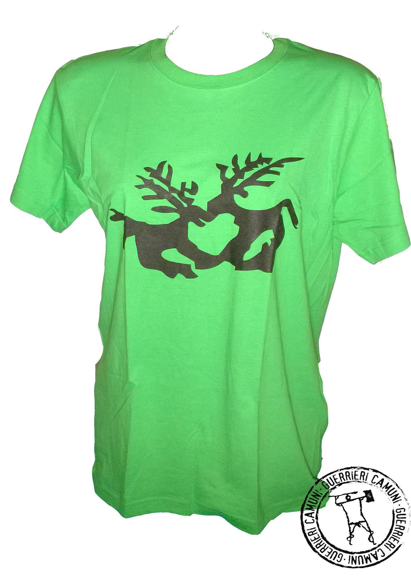 Maglietta T-Shirt Incisioni Rupestri Cervi in Amore Unisex Verde