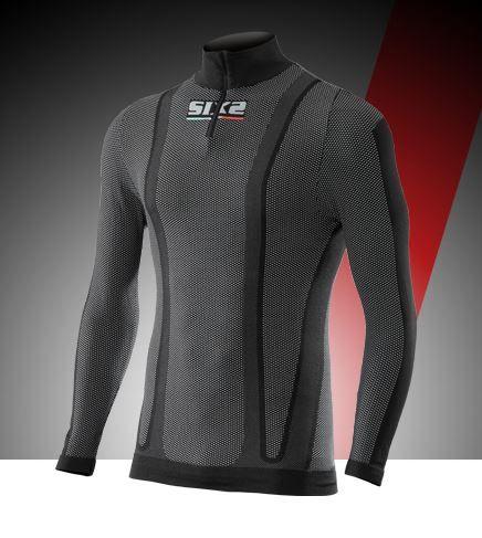 SIXS TS13 Maglietta intima lupetto con zip a manica lunga