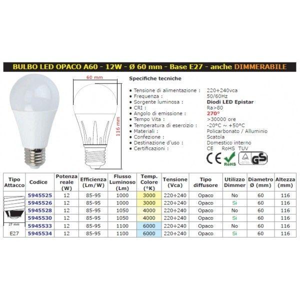 Mod. E27 Bulbo A60 LED W12