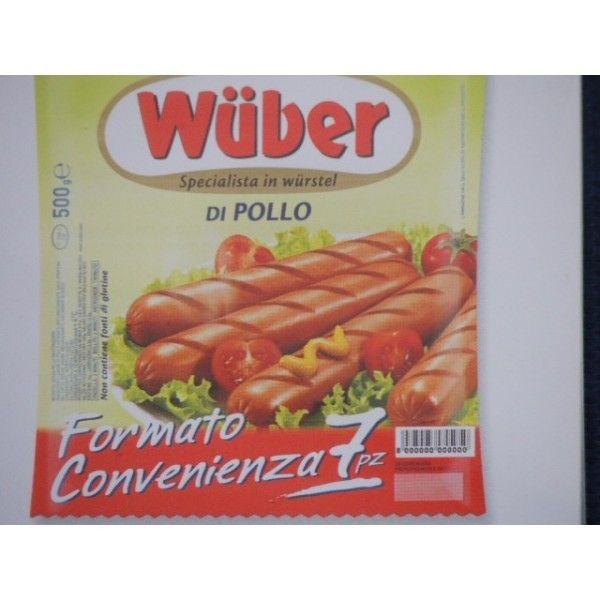 Wuber Formato Convenienza Pollo 7 Pezzi Gr. 500 Wurstel