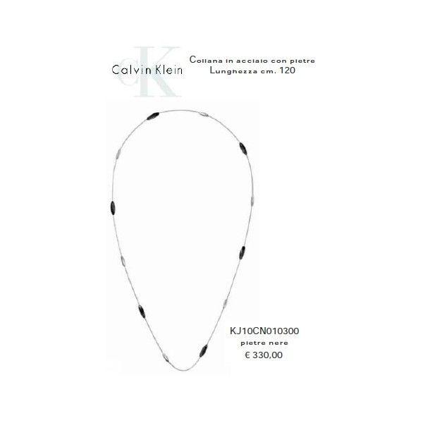 Calvin Klein Collana in Acciaio con Pietre Nere