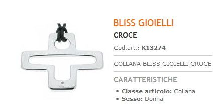 Collana Bliss Gioielli Croce Donna