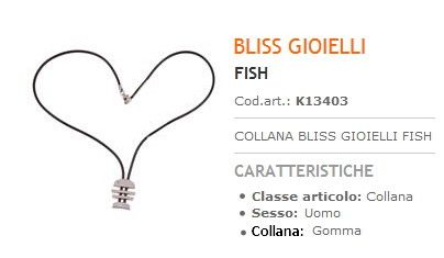 Collana Bliss Gioielli Fish Uomo