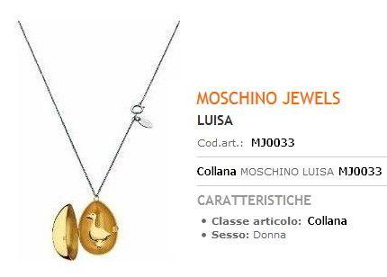 Collana Moschino Pendolo ad Uovo con Spilla