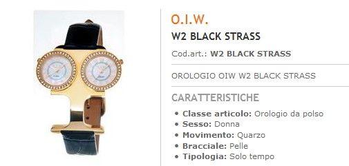Orologi Officine Italiane doppio Quadrante Cinturino Pelle Nero con STRASS