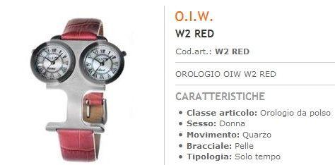 Orologi Officine Italiane doppio Quadrante Cinturino Pelle Rosso