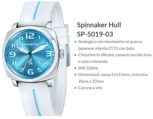 Spinnaker Hull Orologio Donna Quadrante Azzurro