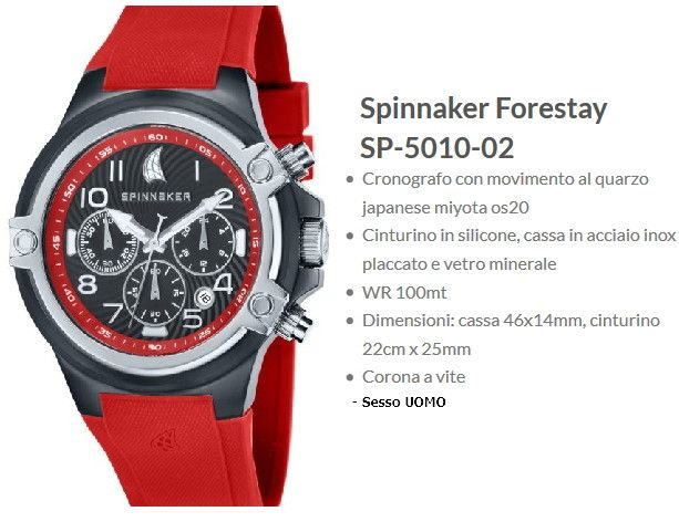 Spinnaker Forestay Orologio Uomo Rosso