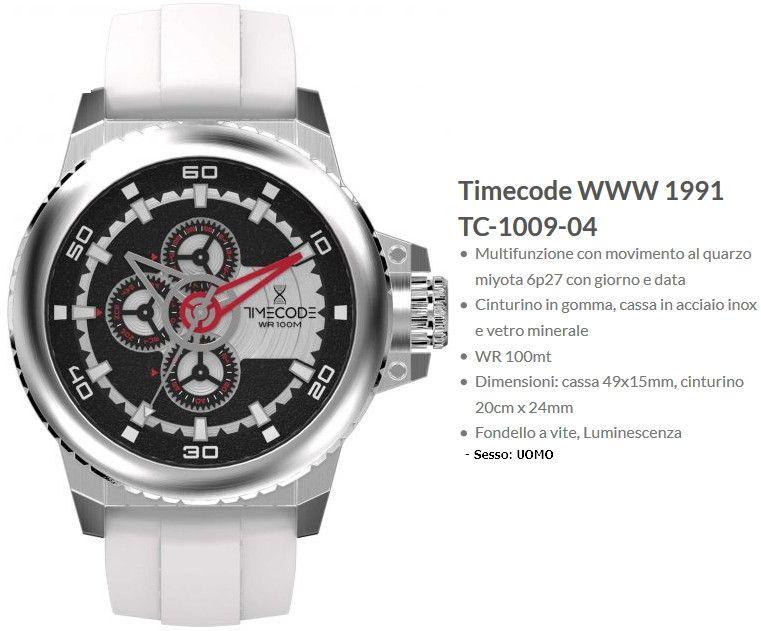 Timecode WWW 1991 Orologio Uomo Quadrante Nero Cinturino Bianco