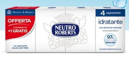 Sapone Neutro Roberts Idratante con Glicerina Naturale 3 + 1 Gratis