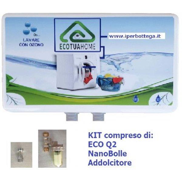 Kit1 Generatore Ozono Q2 per Lavatrici fino a 15 Kg + NanoBolle + Addolcitore