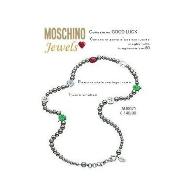 Moschino Collana in perla d'acciaio lucido