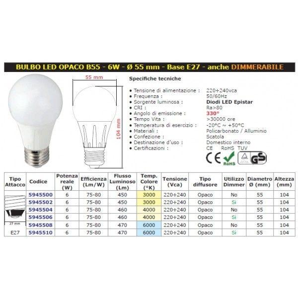 Mod. E27 Bulbo B55 LED W8