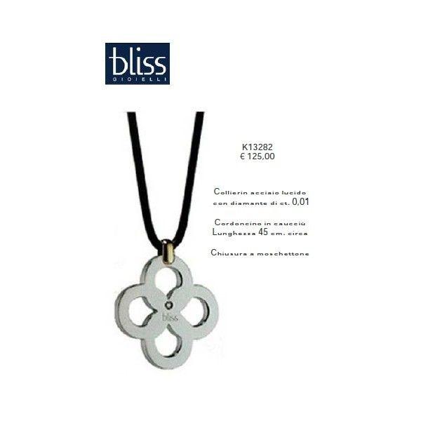 Bliss Gioielli Collier Acciaio lucido con Diamante di ct. 0,01