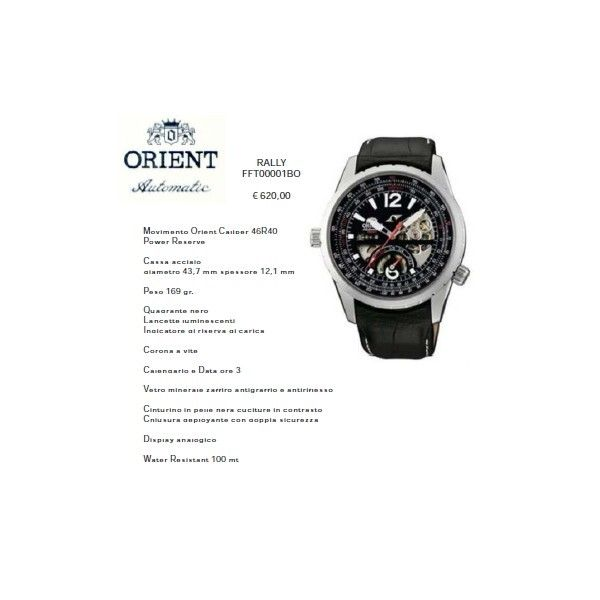 Orient Rally Quadrante Nero