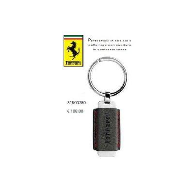 Ferrari Portachiavi in acciaio e pelle nera