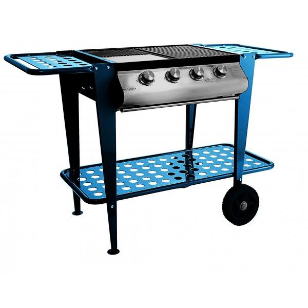 Barbecue a Gas Partynox 4 , con carrello in acciaio blu  - FINE SERIE -