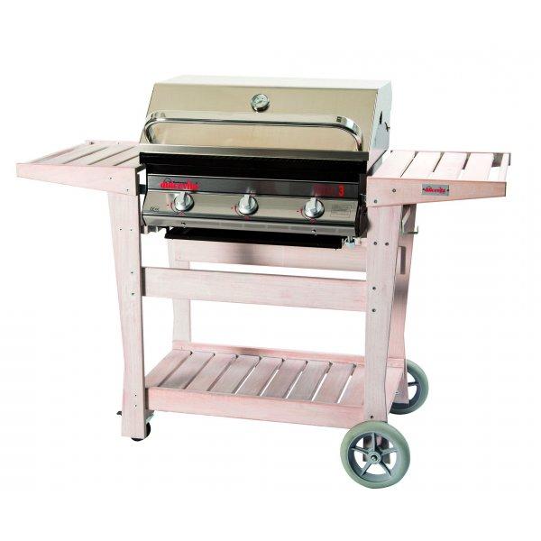 Barbecue Euro 3 con carrello in legno sbiancato e cappa forno