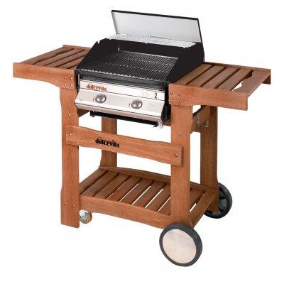 Barbecue a Gas Euro 2 con carrello in legno e bruciatori in ghisa