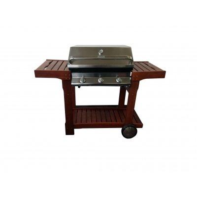 Barbecue Euro 3 con carrello in legno e cappa forno