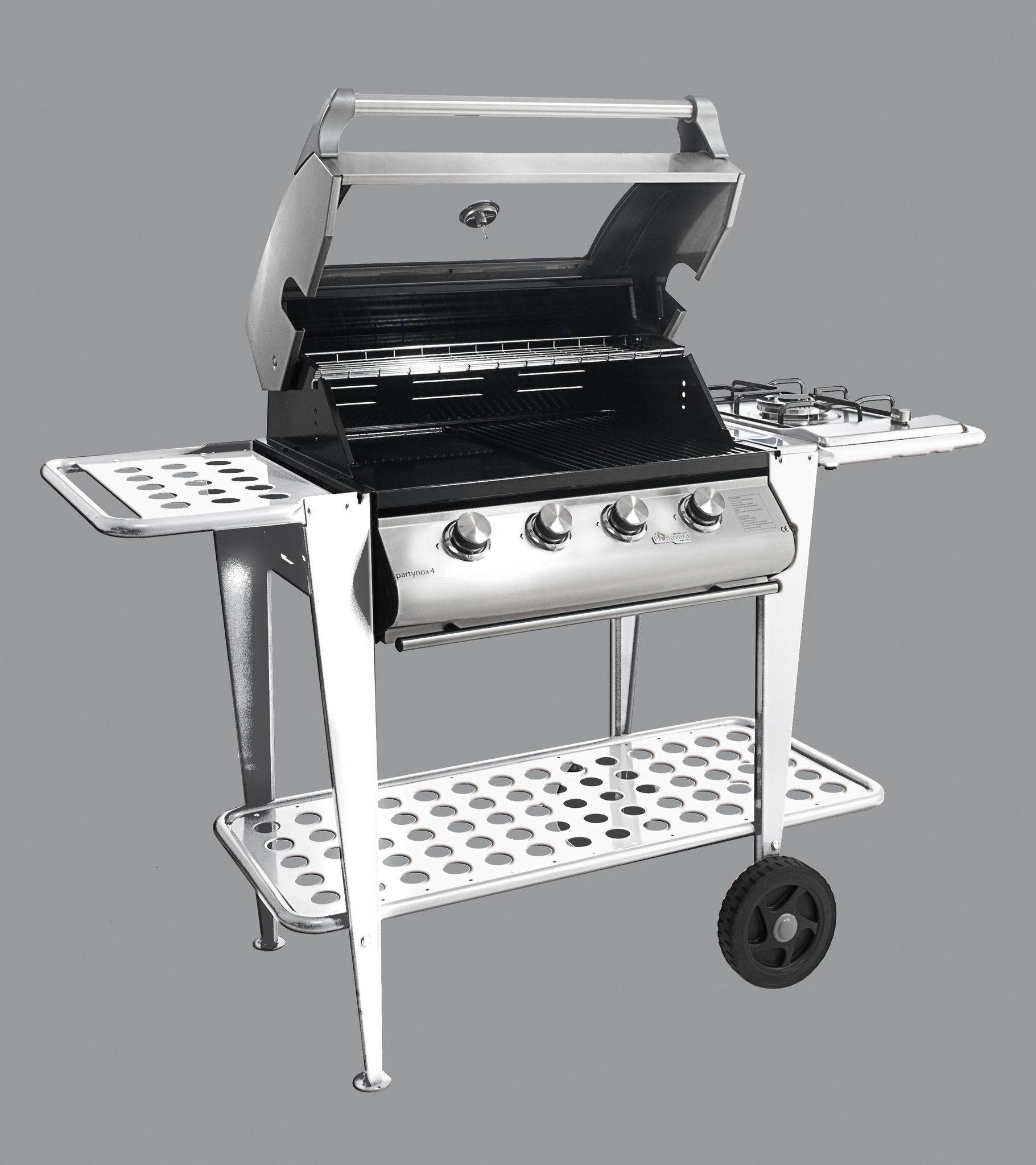 53 barbecue a gas partynox 4 con cappa forno e carrello for Piano cottura con cappa integrata