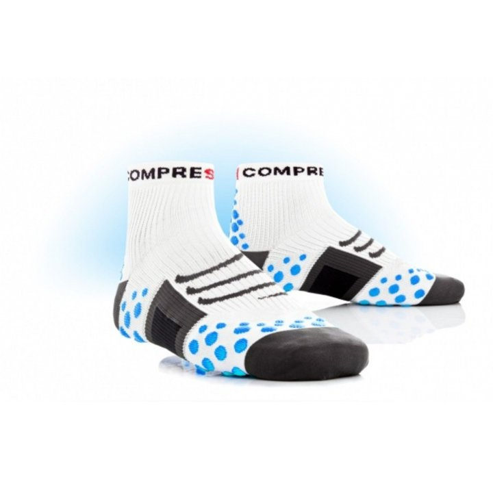 CALZA RUNNING COMPRESSPORT WHITE-BLUE