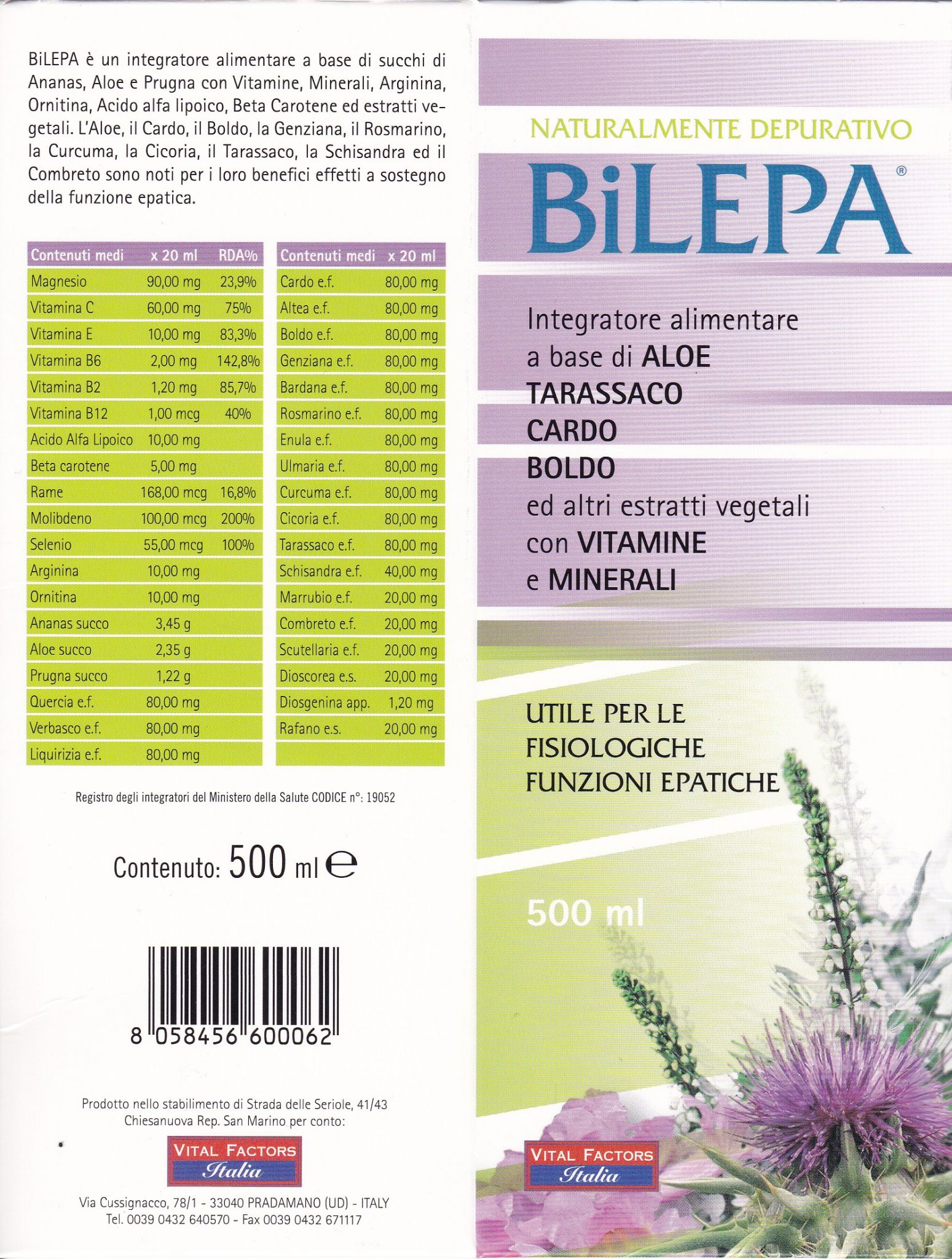 VITAL FACTORS BILEPA Depurativo 500 ml