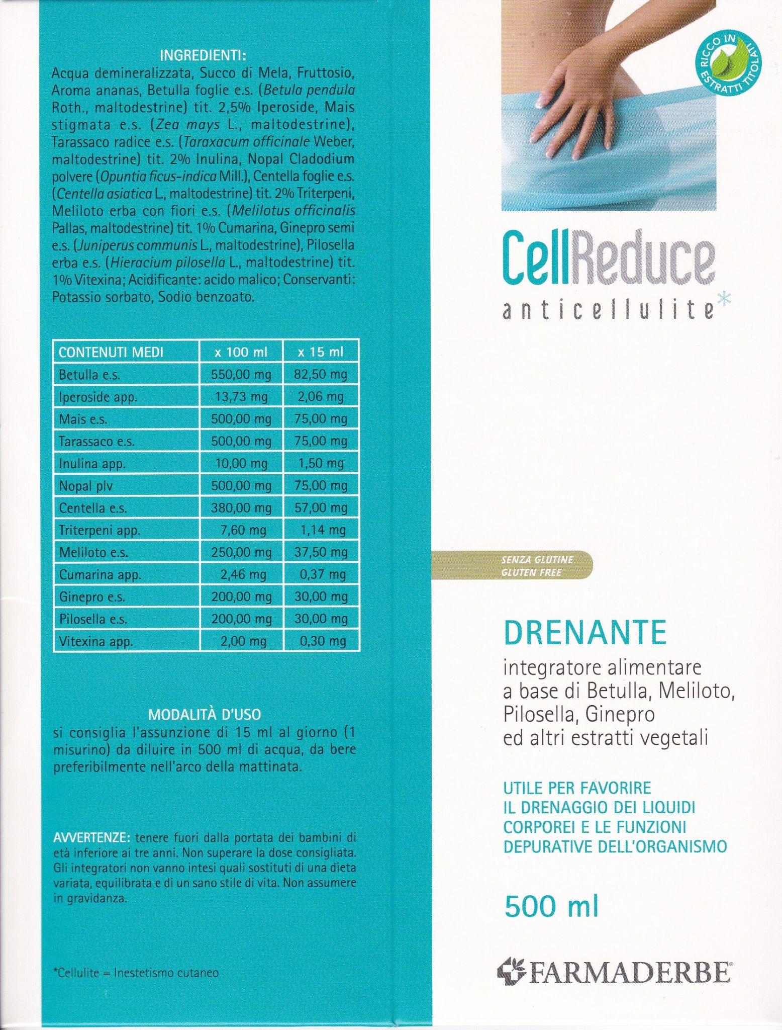 CELL drenante  REDUCE anticellulite  500 ml- FARMADERBE