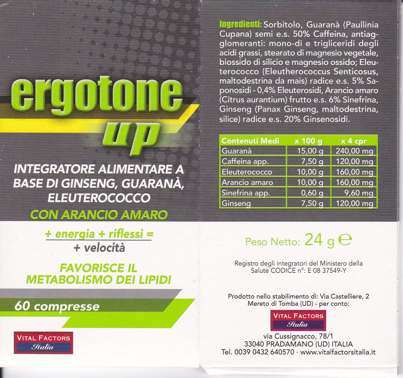 VITAL FACTORS ERGOTONE -UP energizzante  60 cpss