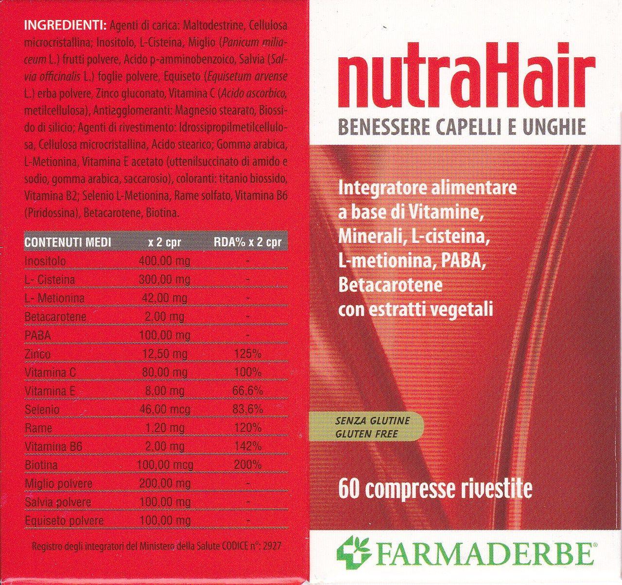 NUTRA HAIR  60 cps -  FARMADERBE Capelli  e  Unghie